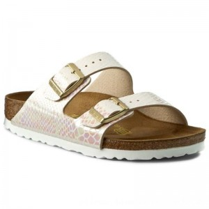 Birkenstock Pantoletten Arizona 0057623 Shiny Snake Cream [Outlet]