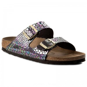Birkenstock Pantoletten Arizona 1003463 Shiny Snake Black Multicolor [Outlet]
