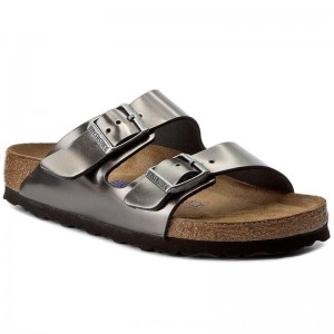 Birkenstock Pantoletten Arizona BS 1000295 Metallic Anthracite [Outlet]