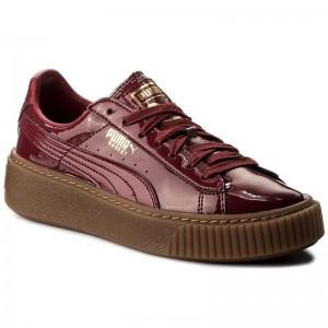 Puma Sneakers Basket Platform Patent Wn's 363314 04 Tibetan Red/Tibetan Red [Outlet]