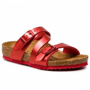 Birkenstock Pantoletten Salina Kids 1010412 Soft Metallic Red [Outlet]