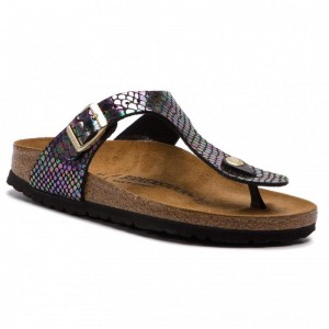 Birkenstock Zehentrenner Gizeh Bs 1003465 Shiny Snake Black Multicolor [Outlet]