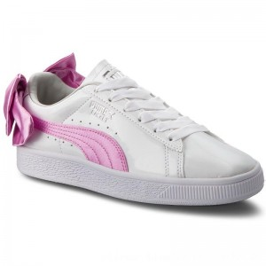 Puma Sneakers Basket Bow Patent Jr 367621 02 White/Orchid/Gray [Outlet]