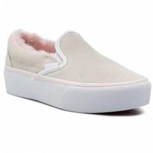 Vans Turnschuhe Classic Slip-On P VN0A3JEZUM71 (Suede/Fur) True White/Pi [Outlet]