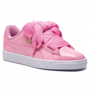 Puma Sneakers Basket Heart Patent Jr 364817 03 Prism Pink/Pcoat/Gold/White [Outlet]