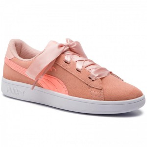 Puma Sneakers Smash V2 Ribbon Jr 366003 07 Peach Bud/Bright Peach/White [Outlet]