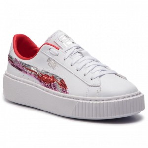 Puma Sneakers Basket Platfrm Trailblazer Sqn Jr 369045 02 White/Hibiscus [Outlet]