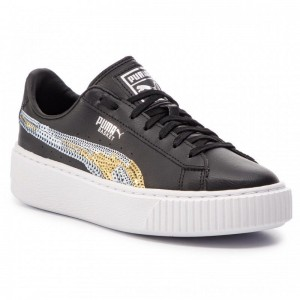 Puma Sneakers Basket Pltfrm Trailblazer SQN Jr 369045 03 Black/Puma Team Gold [Outlet]