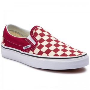 Vans Turnschuhe Classic Slip-On VN0A38F7VLW1 (Checkerboard) Rumba Red [Outlet]