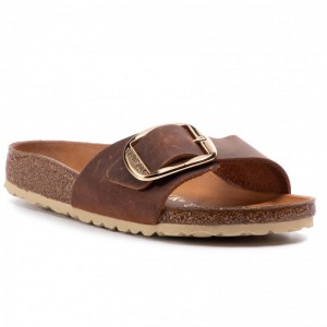 Birkenstock Pantoletten Madrid Big Buckle 1006525 Cognac [Outlet]