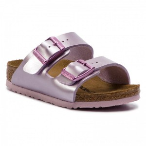 Birkenstock Pantoletten Arizona Kids 102510 Electric Metallic Lilac [Outlet]