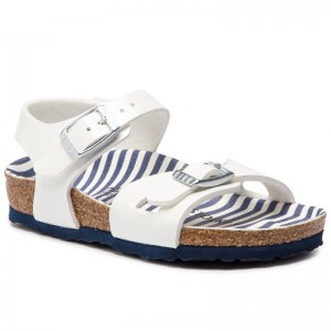 Birkenstock Sandalen Rio Kids 1012718 Nautical Stripes White [Outlet]