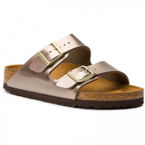 Birkenstock Pantoletten Arizona Bs 1012972 Electric Metallic Taupe [Outlet]