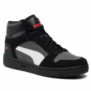 Puma Sneakers Rebound Layup Sd 370219 02 Blk/Castlerock/Wht/Hrisk Red [Outlet]