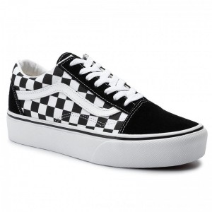 Vans Turnschuhe Old Skool Platfor VN0A3B3UHRK1 (Checkerboard) Blk/Tr Wht [Outlet]