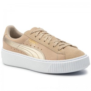 Puma Sneakers Suede Platform Bubble Wn's 364594 Safari/Safari [Outlet]