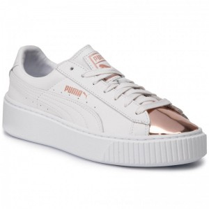 Puma Sneakers Basket Platform Metallic 366169 03 White/Rose Gold [Outlet]