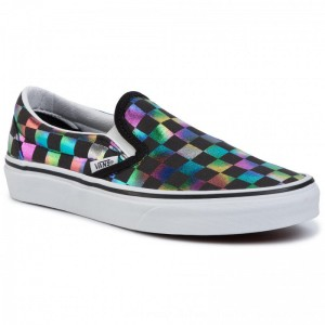 Vans Turnschuhe Classic Slip-On VN0A4BV3SRY1 (Iridescent Check) Blktrwt [Outlet]