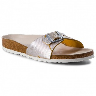 Birkenstock Pantoletten Madrid Rivet Logo 1012960 Metallic Cuts Lemon