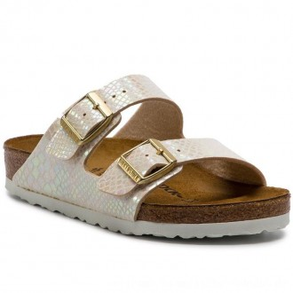 Birkenstock Pantoletten Arizona Bs 0057621 Shiny Snake Cream [Outlet]