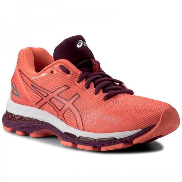 Asics Schuhe Gel-Nimbus 19 T750N Flash Coral/Dark Purple/White 0632 [Sale]