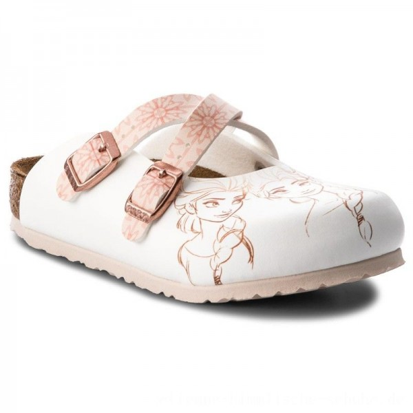 [BLACK FRIDAY] Birkenstock Pantoletten Dorian Kids 1010354 Frozen Elsa Rose White