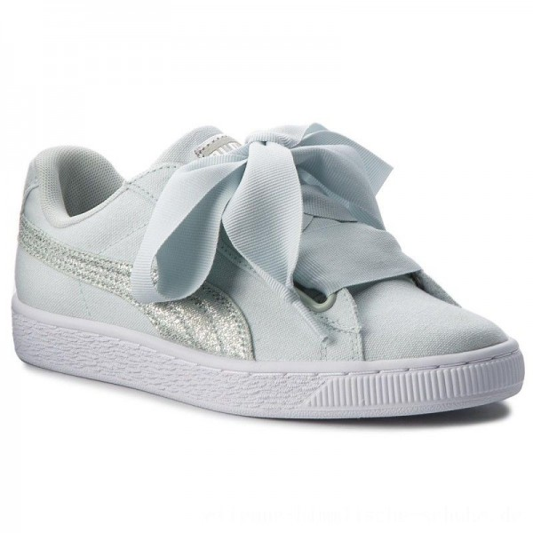 Puma Sneakers Basket Heart Canvas 366495 03 Blue Flower/White/Silver [Outlet]