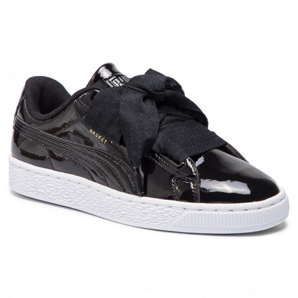 Puma Sneakers Basket Heart Patent Jr 364817 01 Black/Prism Pink/Gold/White [Outlet]