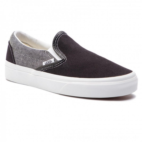 Vans Turnschuhe Classic Slip-On VN0A38F7VJ61 (Chambray) Canvas Black/T [Outlet]