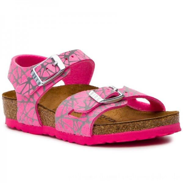 Birkenstock Sandalen Rio 1012631 Reflective Lines Pink [Outlet]