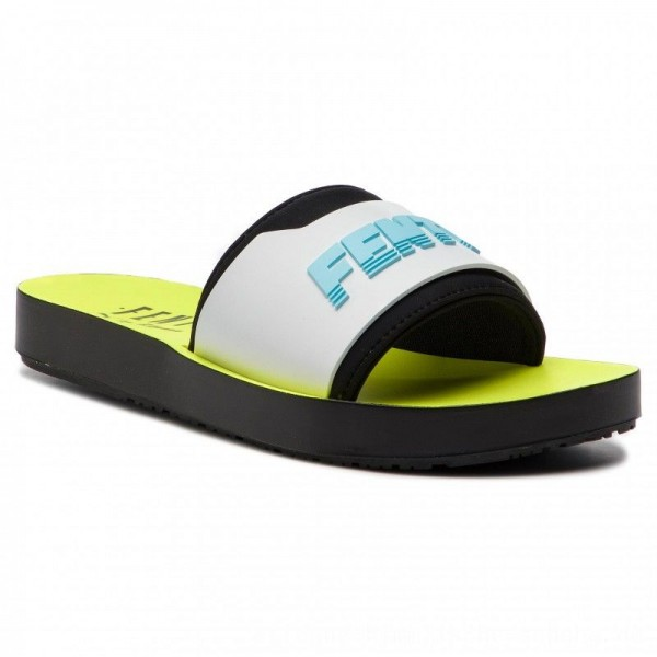 Puma Pantoletten Fenty Surf Slide Wns 367747 02 Fuma Black/White/Yellow [Outlet]