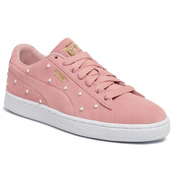 Puma Sneakers Suede Pearl Studs Wn's 369934 02 Bridal Rose-Puma Team Gold [Outlet]