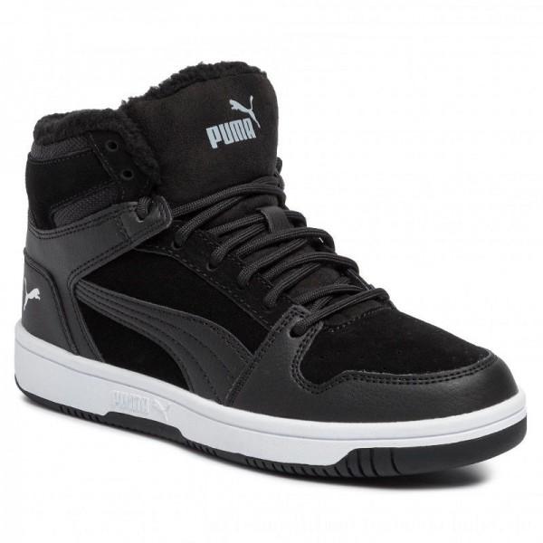 Puma Sneakers Rebound Layup Fur SD Jr 370497 01 Black/Puma White [Sale]